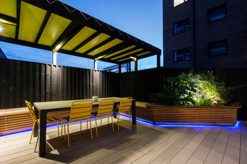 Inspospace Venue Hire - Shoreditch, East London - Outdoor Area in the dark
